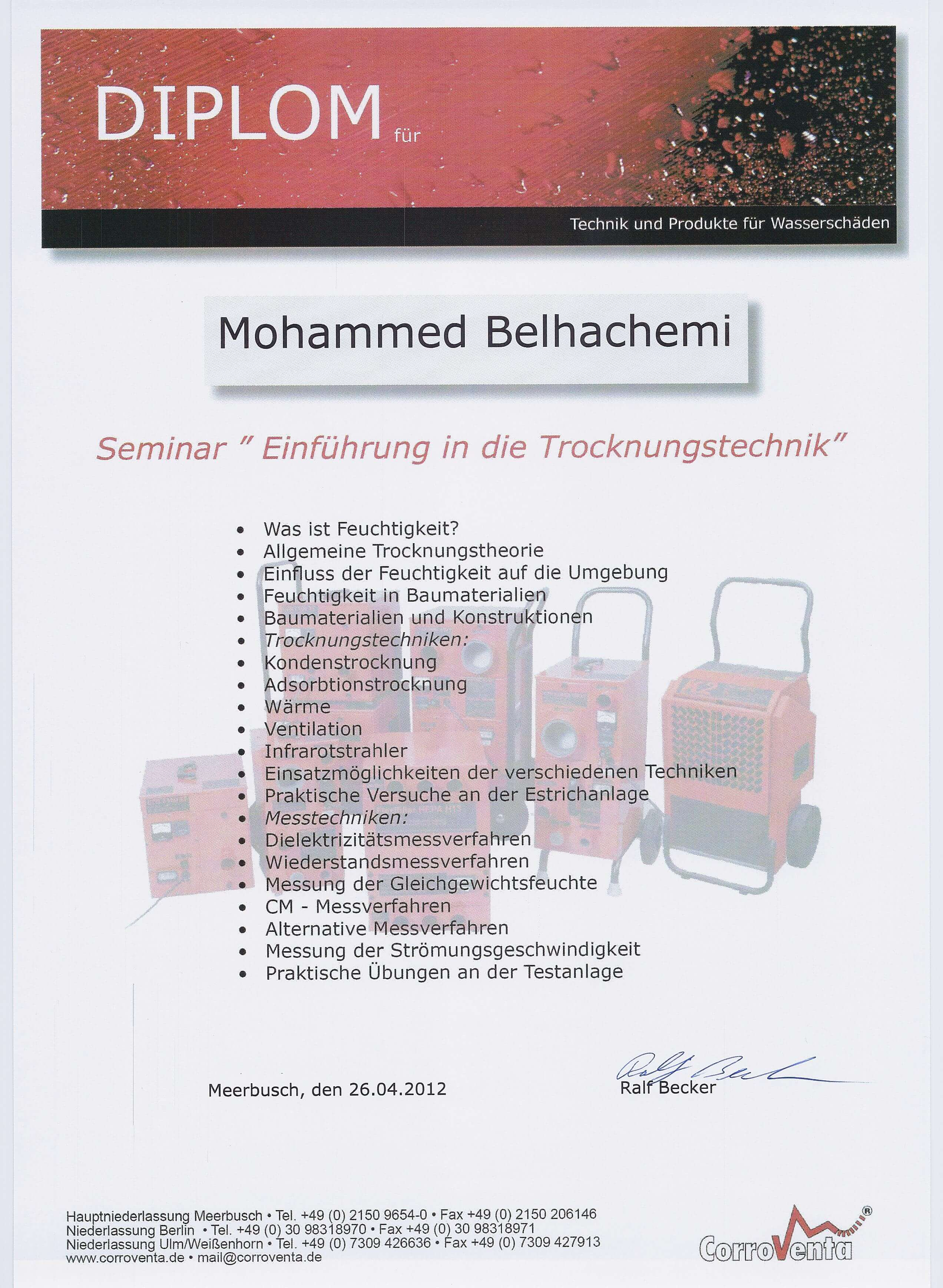 Diplom Einführung in die Trocknungstechniks Mohammed Belhachemi