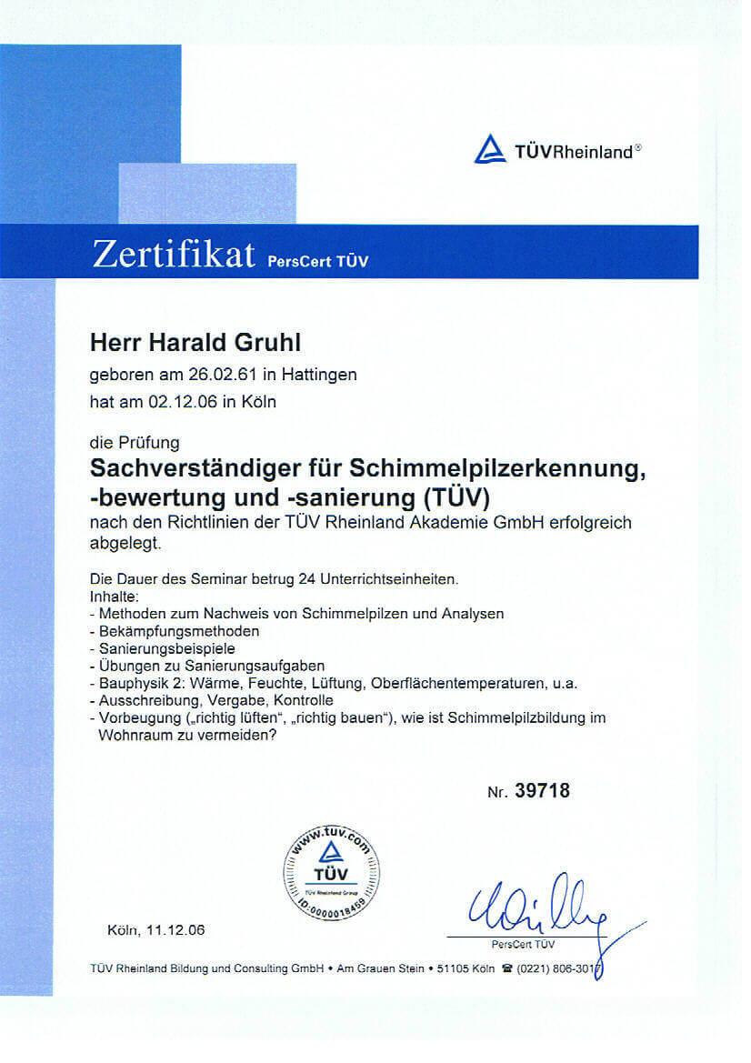 TÜV-Zertifikat Harald Gruhl