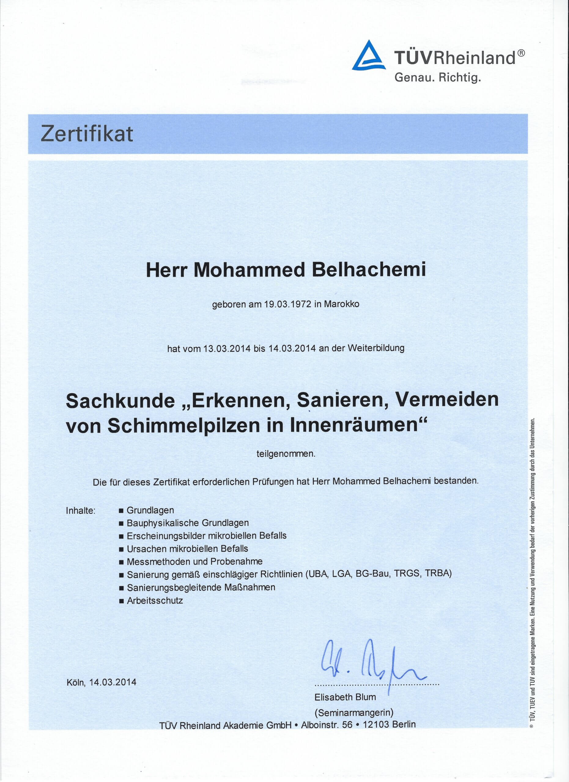 TÜV-Sachkunde Mohammed Belhachemi