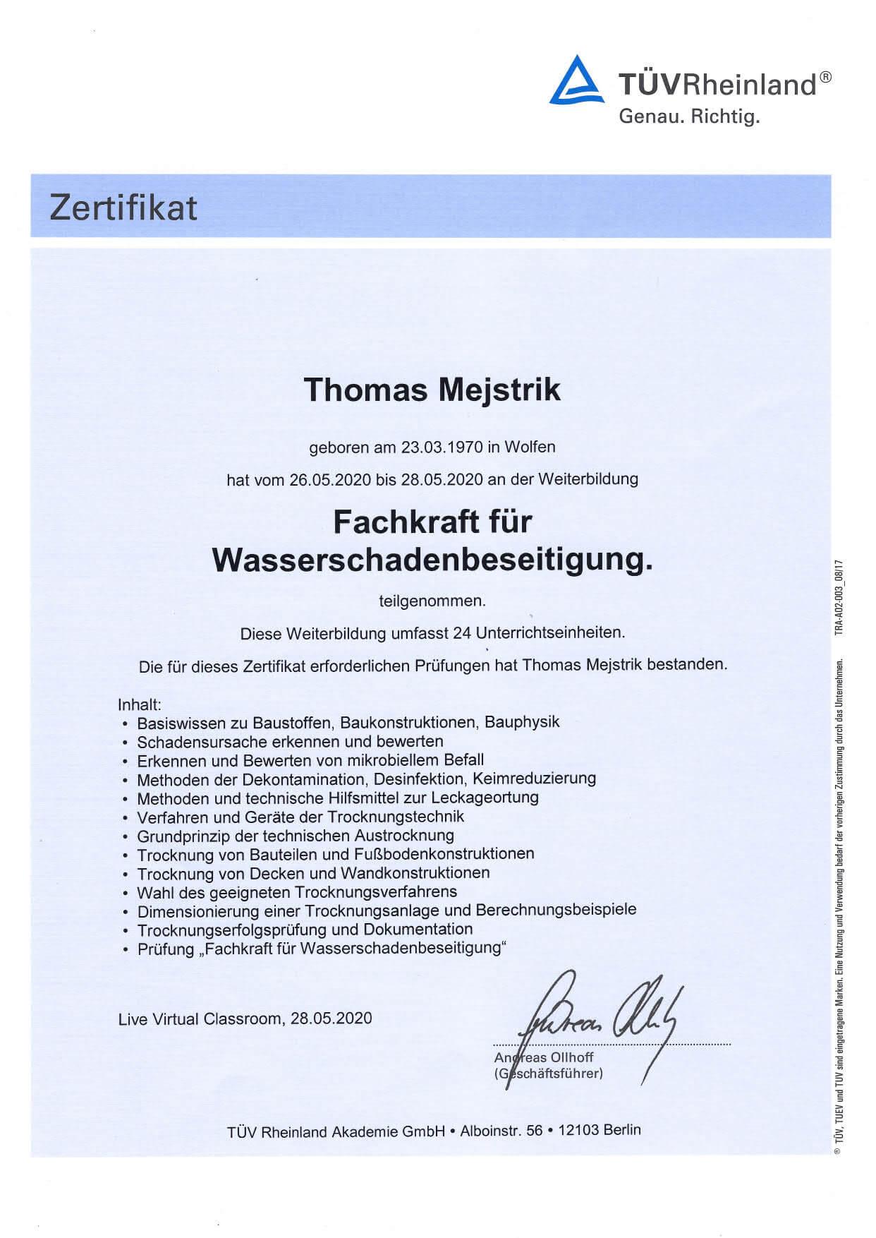 Thomas Mejstrik-Fachkraft für Wasserschadensbeseitigung